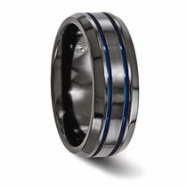 Edward Mirell Black Titanium with Blue Anodized Grooves