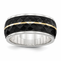 Edward Mirell Black Titanium & Yellow Gold Faceted Ring