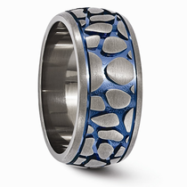 Edward Mirell Cobblestone Gray Titanium Ring with Blue Anodizing