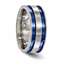 Edward Mirell Double Grooved Blue Anodized Ring