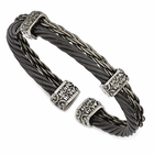 Edward Mirell Gray and Black Titanium Double Cable Cuff- THORN