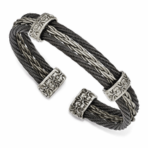 Edward Mirell Gray & Black Titanium Triple Cable Cuff- THORN