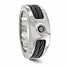 Edward Mirell Titanium Ring with Double Black Titanium Cables and Black Spinel