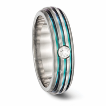 edward mirell grooved rainbow titanium ring with white sapphire - Rainbow Wedding Rings