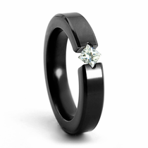 Ladies Black Zirconium & Princess Cut Diamondesque Diagonal Ring