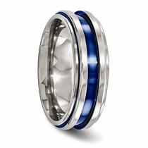 Edward Mirell Layered Blue Anodized Titanium Ring