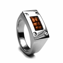 Edward Mirell Leather & Titanium Ring - Brown
