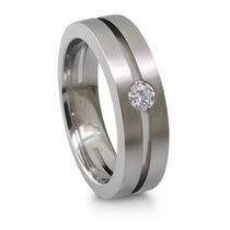 EDWARD MIRELL Split Band Diamondesque and Titanium Ring
