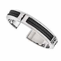 Edward Mirell Stainless Steel Cuff with Black Titanium Cables
