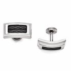 Edward Mirell Stainless Steel Cufflinks with Black Titanium Cables