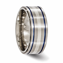 Edward Mirell Sterling Silver, Blue Anodized Titanium Ring