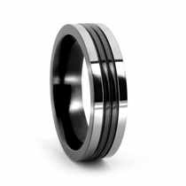 EDWARD MIRELL Titanium and Grooved Black Titanium Ring
