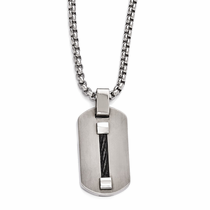 Edward Mirell Titanium & Black Memory Cable Dog Tag Necklace