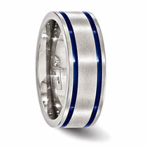 Edward Mirell Titanium & Blue Anodized Double Groove Ring