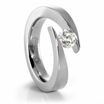 Bypass Tension Set Titanium Engagement Ring -  Jolie
