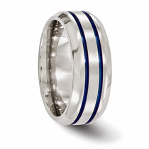 Edward Mirell Titanium Double Grooved Blue Anodized Ring