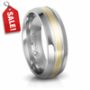 EDWARD MIRELL Titanium & Gold Inlay Wedding Band