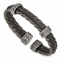 Edward Mirell Titanium Gray & Black Triple Cable Cuff- THORN