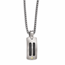 Edward Mirell Titanium Necklace with Black Titanium Memory Cable and 18kt Gold Accents