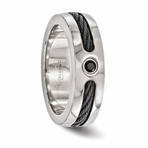 Edward Mirell Titanium Ring with Black Titanium Cable and Black Spinel
