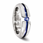 Titanium Ring with Blue Anodizing & Blue Sapphire