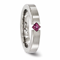 Titanium Ring with Princess Cut Rhodolite Garnet