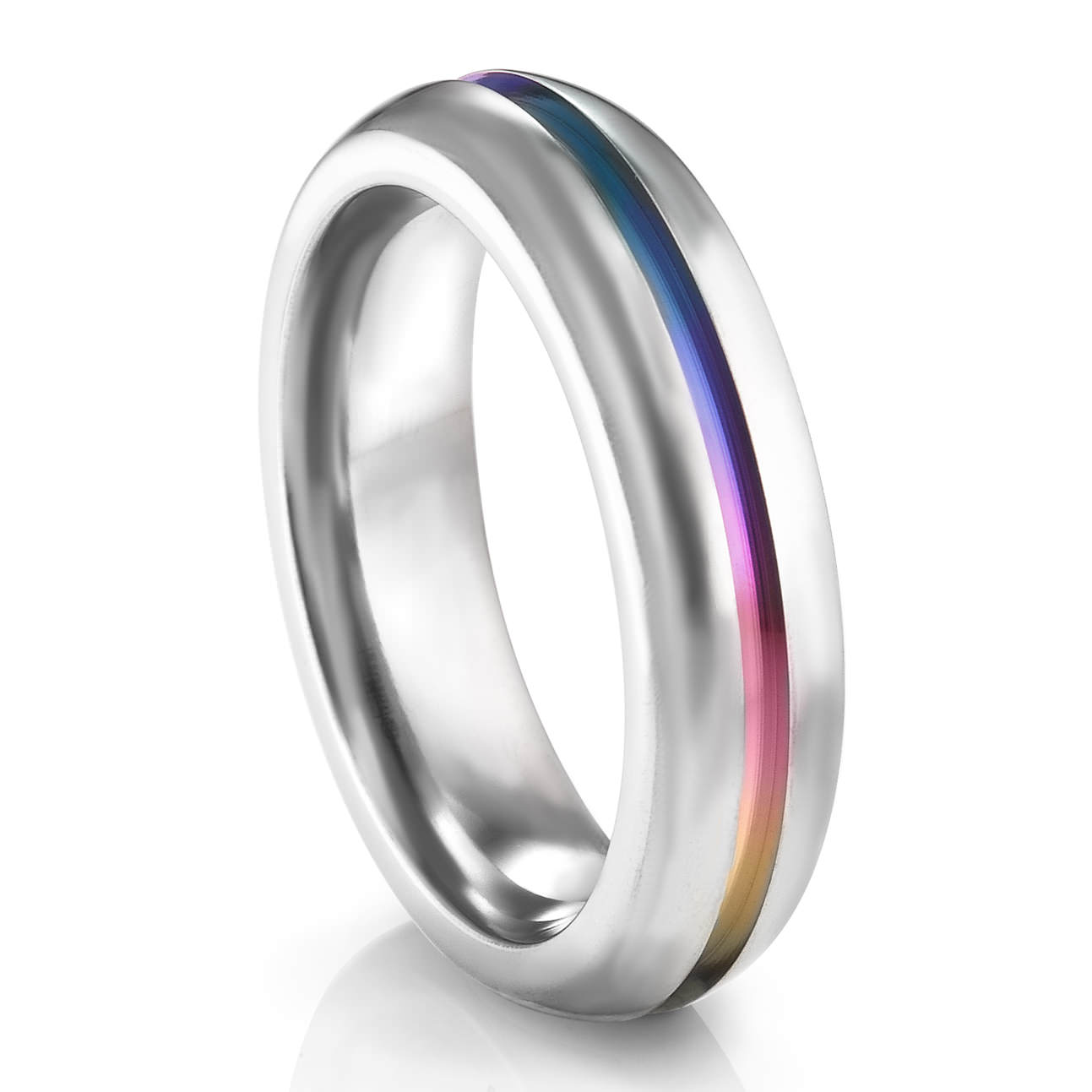 6mm rounded titanium rainbow ring edward mirell rainbow collection - Rainbow Wedding Rings