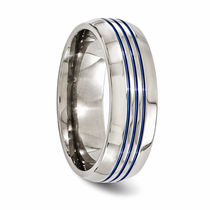 Edward Mirell Titanium Ring with Three Blue Anodized Grooves
