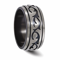 "Edward Mirell Titanium ""Tribal"" Wedding Band"