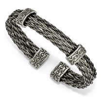 Edward Mirell Triple Titanium Cable Bracelet  - THORN Collection
