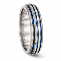 Triple Grooved Blue Anodized Ring