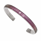 Triple Grooved Pink Anodized Cuff with Pink Sapphire