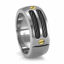 EM Sport Ring - Titanium, Black Titanium & 18K Gold Ring