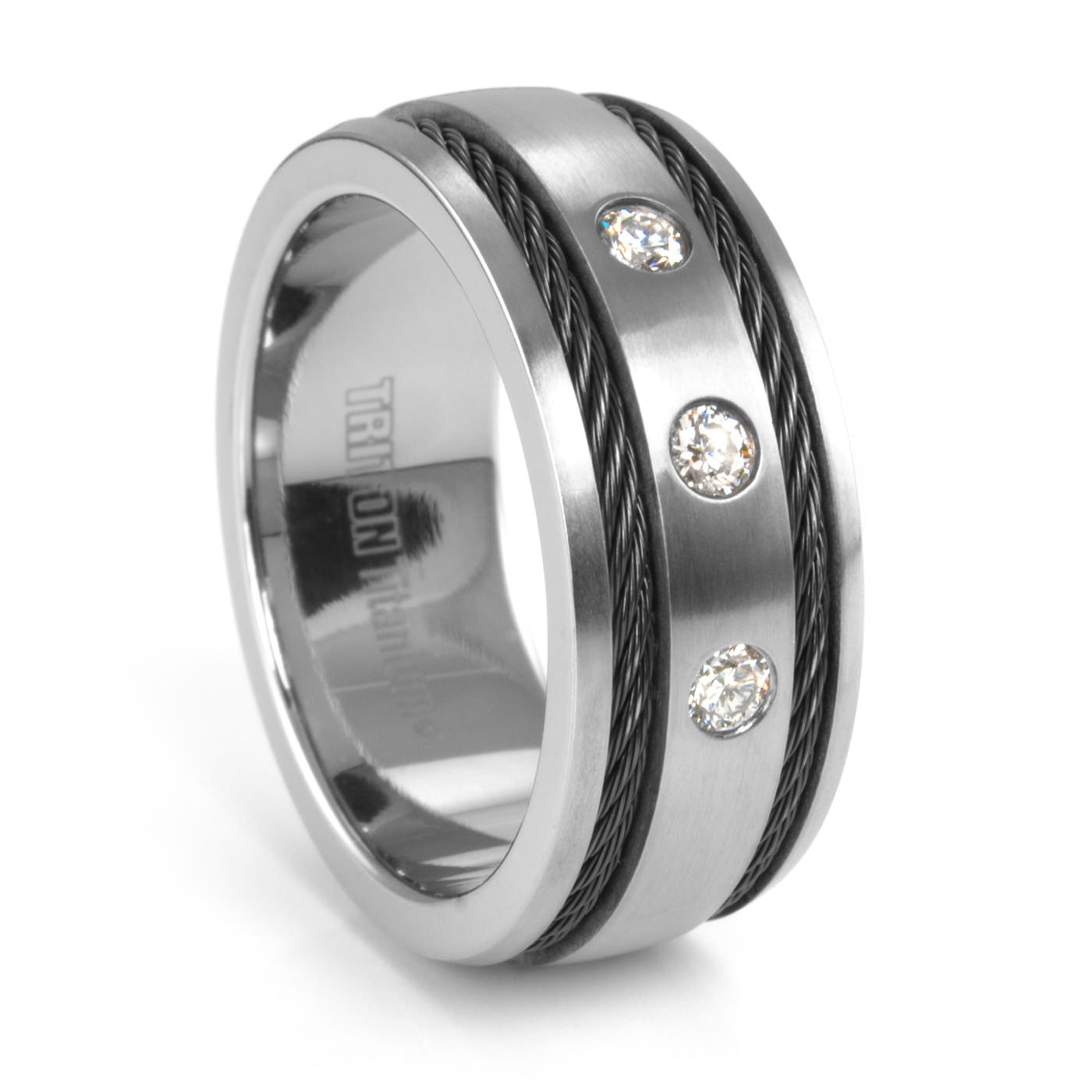 mens band white black in wedding rings tungsten sapphire triton