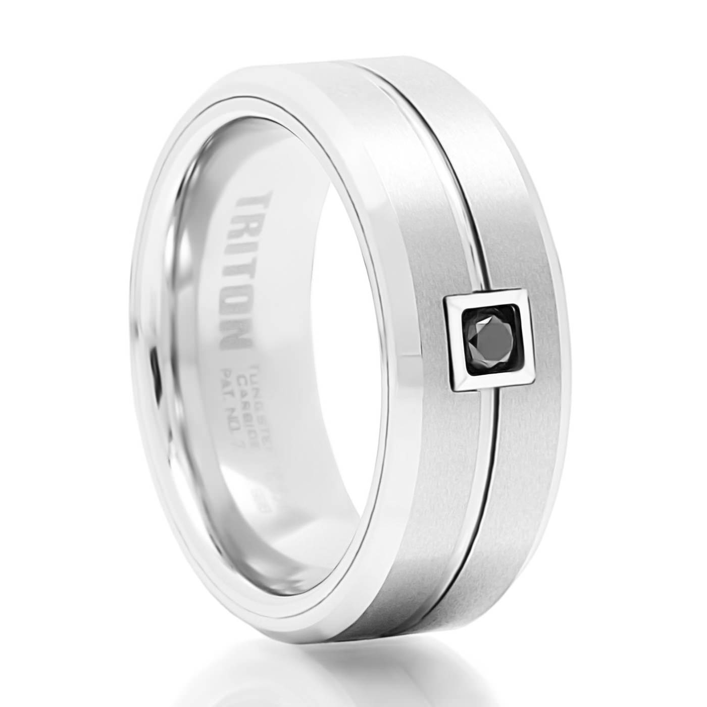 gilroy white tungsten black diamond ring – triton – tungsten rings