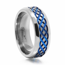 Celtic Design Titanium Ring Blue Anodized Groove by Edward Mirell