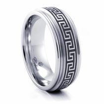 GREEK KEY Cobalt Chrome Ring by Heavy Stone Rings