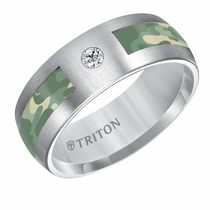 Triton Tungsten Green Camo Inlay with Diamond Ring