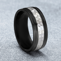 Black Zirconium Hammer Finish Silver Ring by J.R. YATES