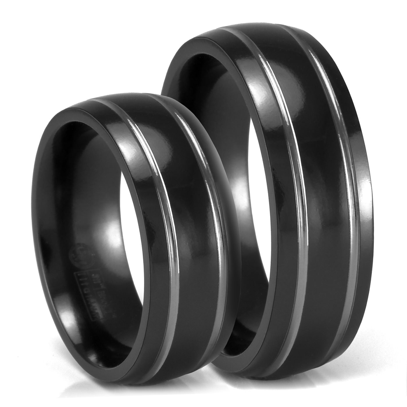 matching set of 7mm black titanium rings