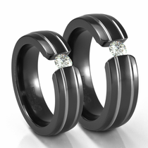 His & Hers Double Grooved Black Titanium Tension Set Diamond Rings by Edward Mirell