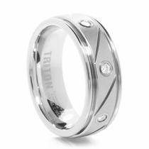 TRITON White Tungsten & Diamond Wedding Band Trillion