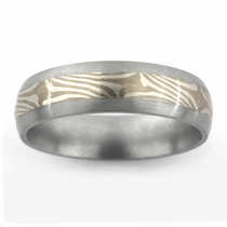 Titanium Ring with Sterling Silver & 14kt White Palladium Mokume Gane Inlay
