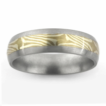 Titanium Ring with 18kt Yellow Gold & 14kt White Palladium Mokume Gane Inlay