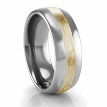 Tungsten Ring with 14kt Yellow Gold, 14kt White Palladium & Sterling Silver Mokume Gane Inlay