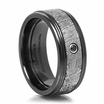 KAL-EL Zirconium & Meteorite Ring With Black Diamond by Lashbrook Designs