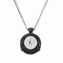 LACE Black Titanium & Sterling Silver Round Necklace by Edward Mirell