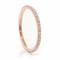 Ladies 14K Rose Gold & Eternity Diamond Wedding Band by Belloria