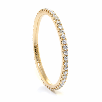 Ladies 14K Yellow Gold & Eternity Diamond Wedding Band by Belloria