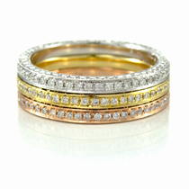 Ladies 18K Gold & Diamond Eternity Stackable Bands - SET by Belloria